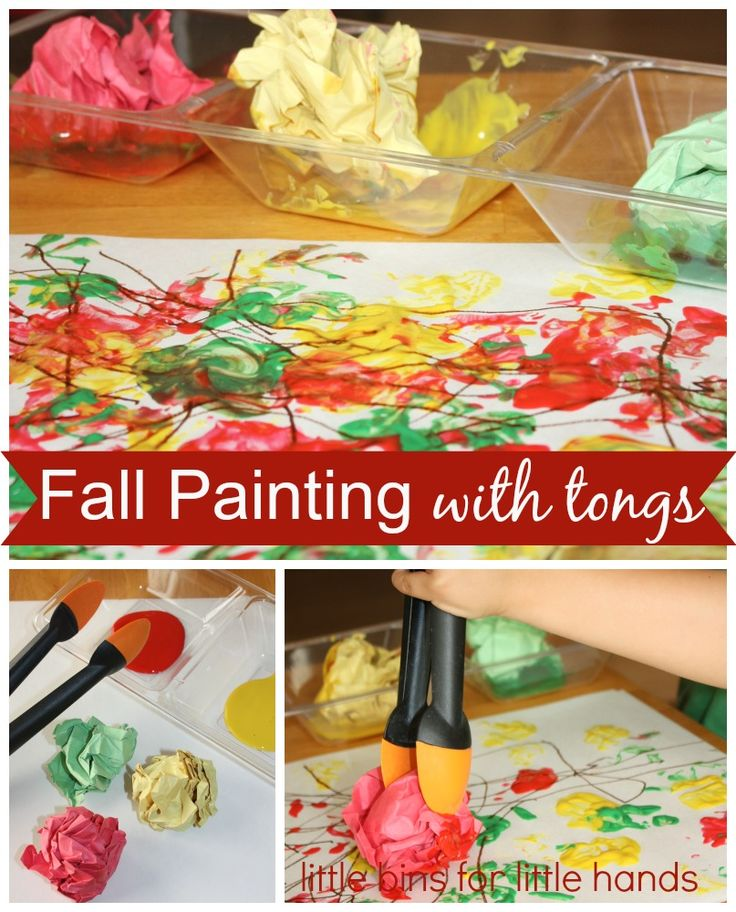 Fine Motor Fall Painting Activity For Kids With Tongs