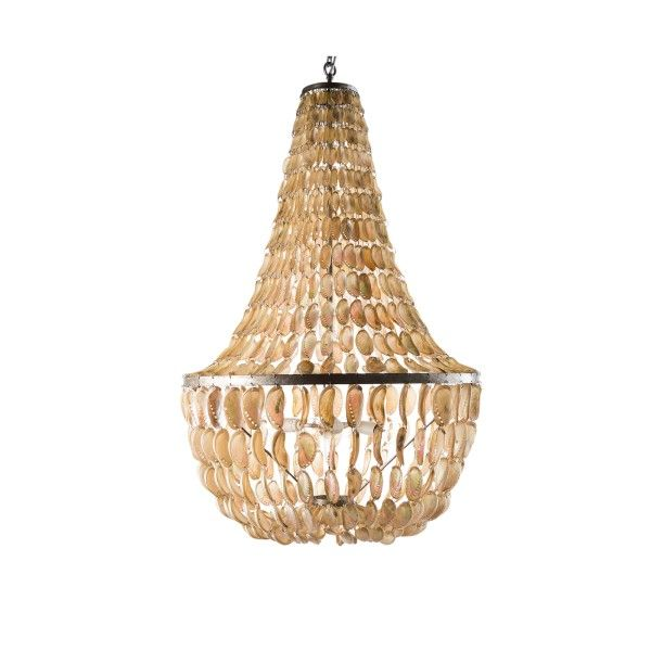 Romantic style chandelier with captivating composition of natural seashells in colours of blue/green or ivory.