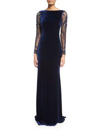 Beaded-Long-Sleeve Velvet Gown  by Badgley Mischka at Neiman Marcus.