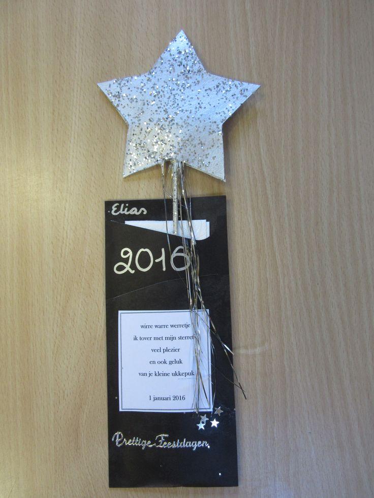Nieuwjaarsbrief peuters Sterretje in karton  Servethouder  wirre warre werretje