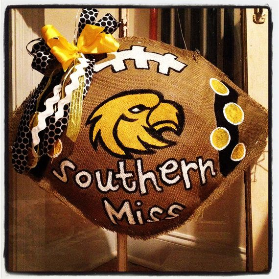 University of Southern Miss Burlap Door Hanger