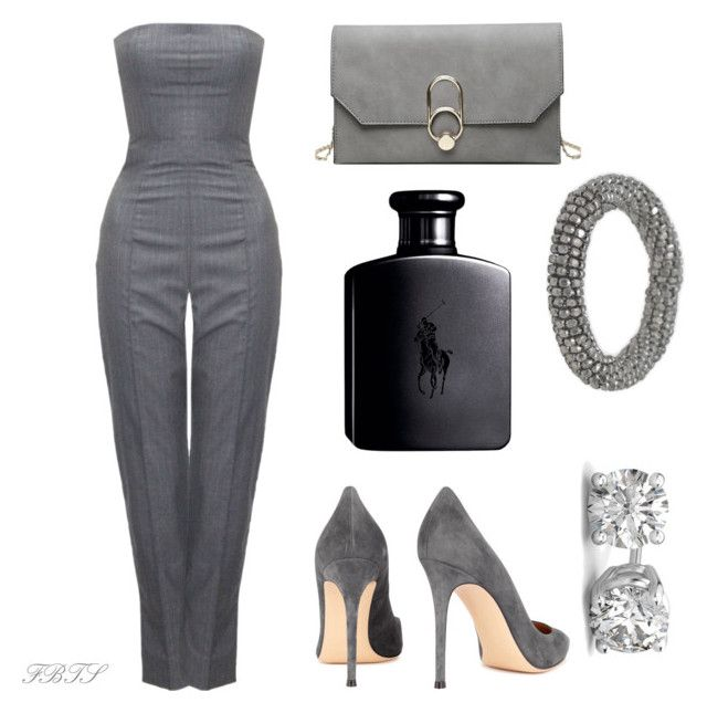 Gray Pant Suit by flybeyondtheskies on Polyvore featuring Alexander McQueen, Gianvito Rossi and BillyTheTree