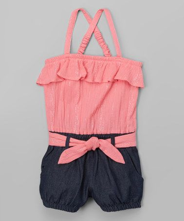 Another great find on #zulily! Coral Metallic-Stripe & Jean Romper - Infant, Toddler & Girls #zulilyfinds