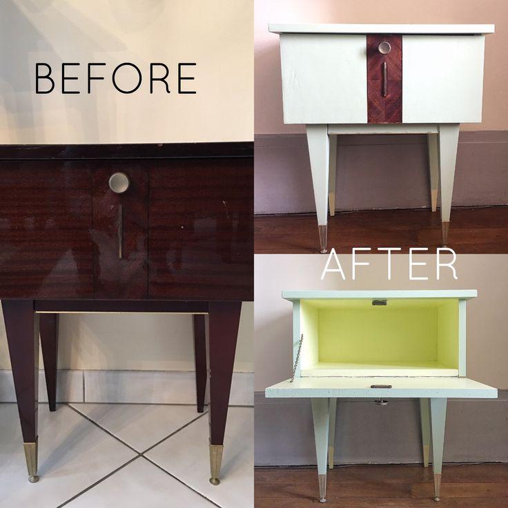 Table de chevet, DIY, do it yourself, furniture, restauration, mid century, année 50, vintage, reupclyded