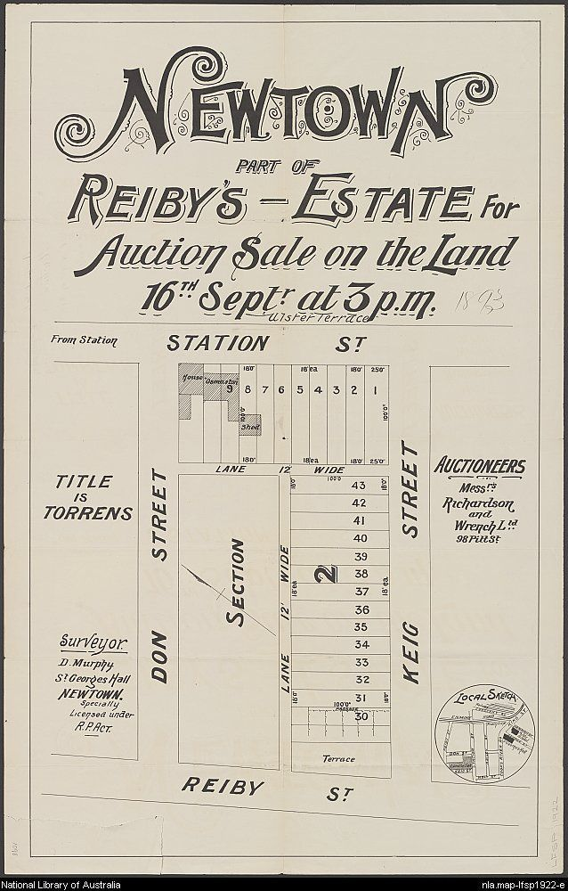 Richardson & Wrench. Newtown, part of Reiby's - Estate for auction sale on the land, 16th Septr. at 3 p.m. 1893. National Library of Australia: http://nla.gov.au/nla.map-lfsp1922