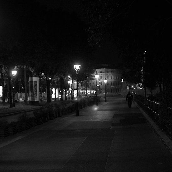 Lonely Beat, Vienna, Austria. #nightbeat #policeman #streetlight #austria #vienna #blackandwhite