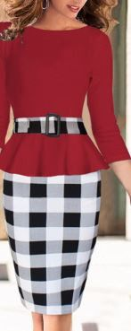 Red and Black Checkerboard Dress