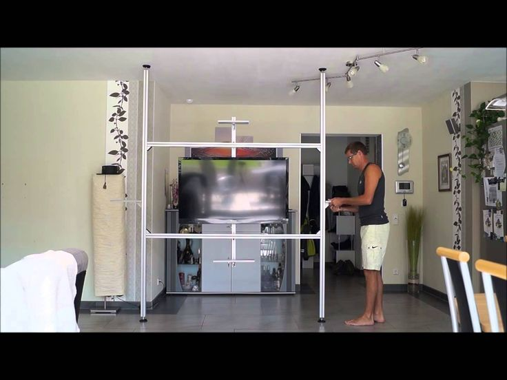 Multimedia Wand, TV Wand, Raumteiler, in 20 min aufgebaut, TV Säule Uniprof - YouTube