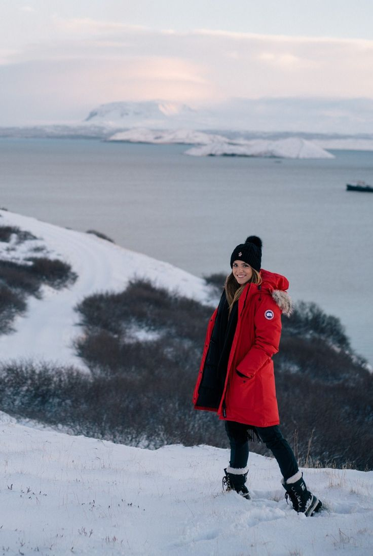 12.16 iceland itinerary: part 1 (Canada Goose 'trillium' down parka in red + Patagonia ultralight down jacket in feather grey + J Crew relaxed wool turtleneck sweater with rib trim in red + Geval outdoor camping & hiking waterproof fleece snow ski pants + Sorel 'caribou' boots + Moncler fur pom ribbed beanie)