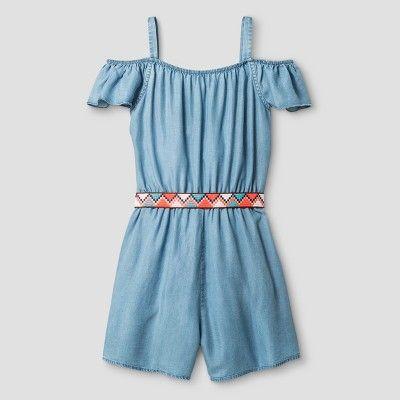 Girls' Zenzi Ruffle Neck Cold Shoulder Tencel Romper with Aztec Print Faux Leather Belt - Blue 16