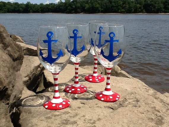 Hand painted Nautical wine glasses by TheUniqueMiniBoutiqu on Etsy