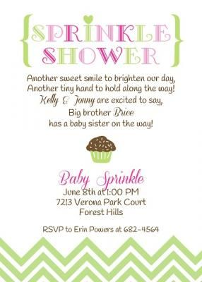 Sprinkle Baby Shower Invitation with chocolate cupcake and sprinkles in colors for a baby girl ; lime, pink and magenta. Customize this card with your wording from Little Angel Announcements