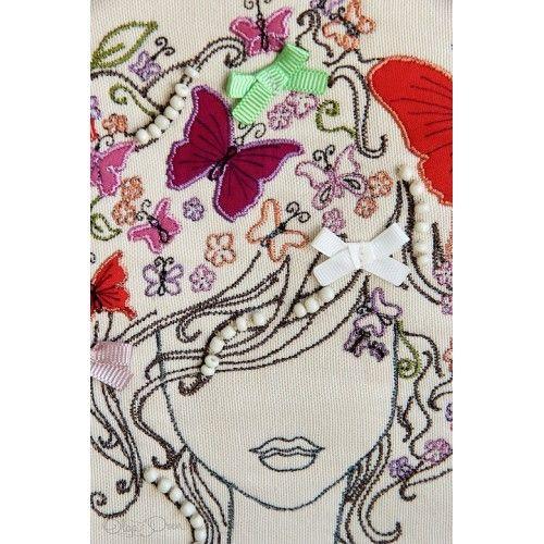 Butterflies on her head. Unique design by Olga Ozen from Ukraine. Living at Sarigerme Mugla Turkey