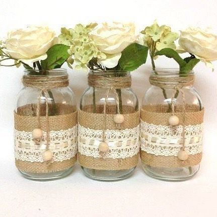119 best bottles and tins images on pinterest decorated bottles items similar to 3 burlap and lace mason jars home decor wedding decor country style vases unique decor on etsy junglespirit Image collections