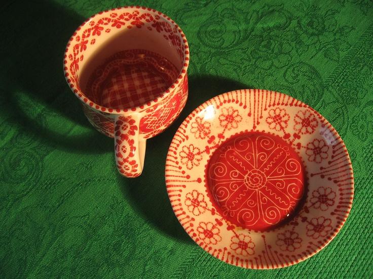 Porcelain tea pair. Handmade. Art. Ancient motives
