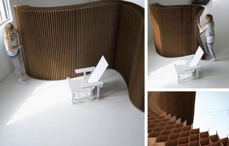 Collapsible soft wall made of paper designed by Molo