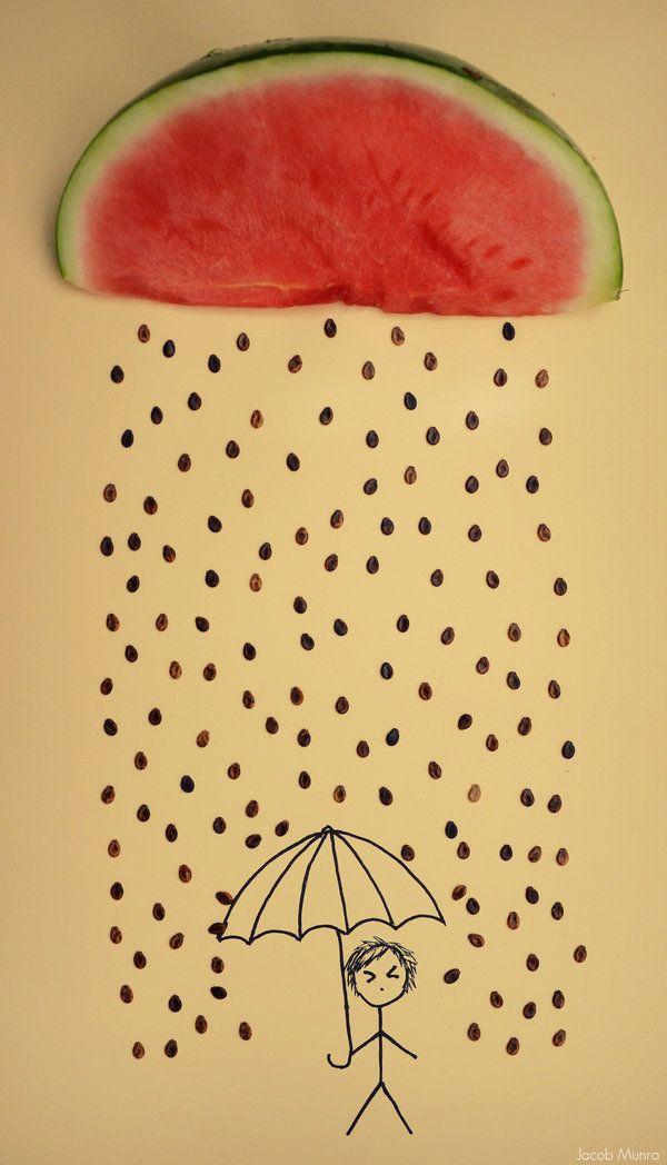 makes me smile :): Amazing Diy, Art Rain, Amazing Example, Food Crafts, Rain Inspiration Pictures, Conceptual Food Photography, Food Art, Photography Inspiration, Conceptual Photography