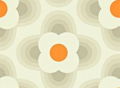 Striped Petal (110403) - Orla Kiely Wallpapers - Retro stylised flower heads in a 70s feel. Shown in a orange and beige on off white - more colours are available. Please request a sample for true colour match. Paste-the-wall product.
