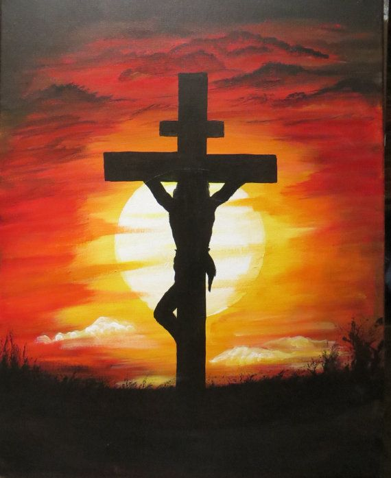 Jesus Christ on the Cross Painting 16 x 20 by PaintandKnit316