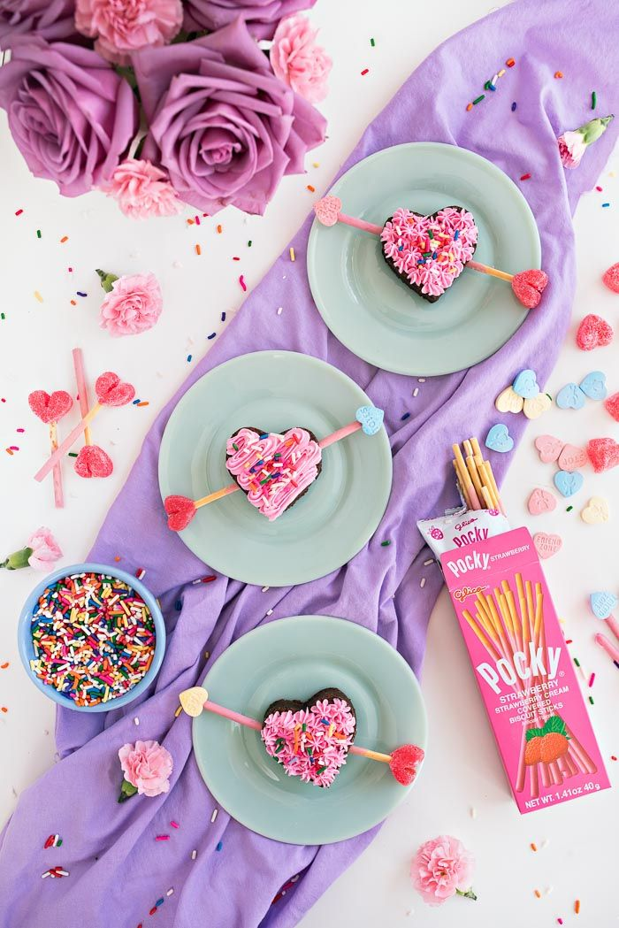Cupid Brownies made with Strawberry Pocky! Super easy Valentine's Day treats! #sharehappiness #ad #vday