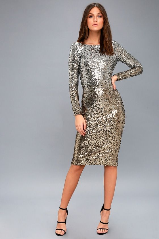 9a295117 Emery Gold and Silver Sequin Bodycon Midi Dress in 2019 | Family ...