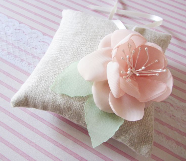 Linen Ring Bearer Pillow, Shabby chic romantic ring pillow, ring bearer pillow with peach flower, shabby chic ring bearer, rustic weddings by HeartShapedPetals on Etsy https://www.etsy.com/listing/123971871/linen-ring-bearer-pillow-shabby-chic