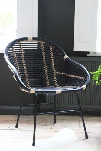 Capri Black  Natural Rattan Chair
