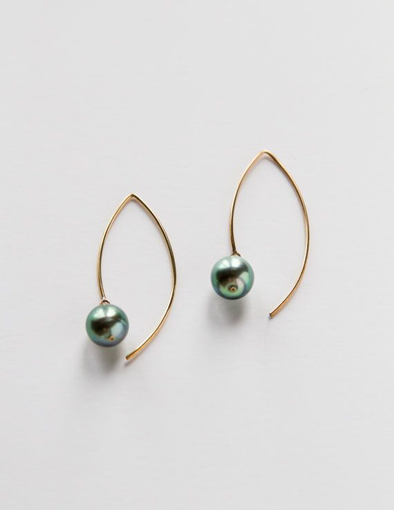 Gold Filled Tahitian Pearl Earrings by SALTWATERSWIM on Etsy