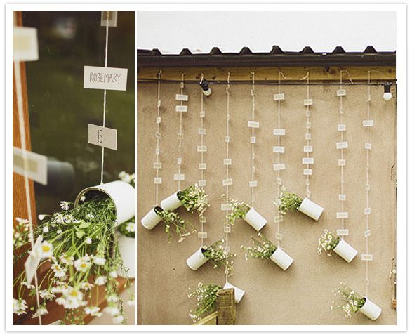 table numbers hanging display