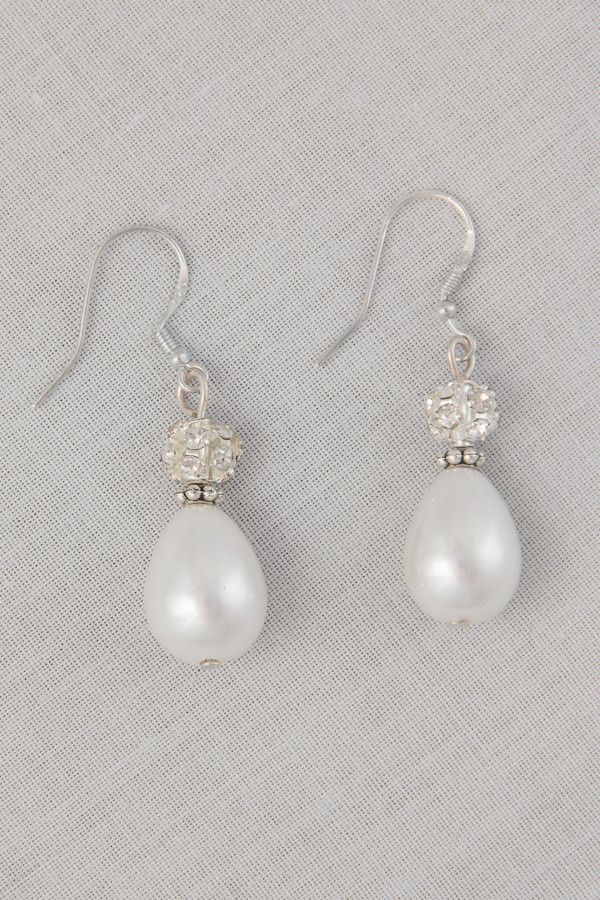 Shell Pearl and Diamante`  Hanging Earrings