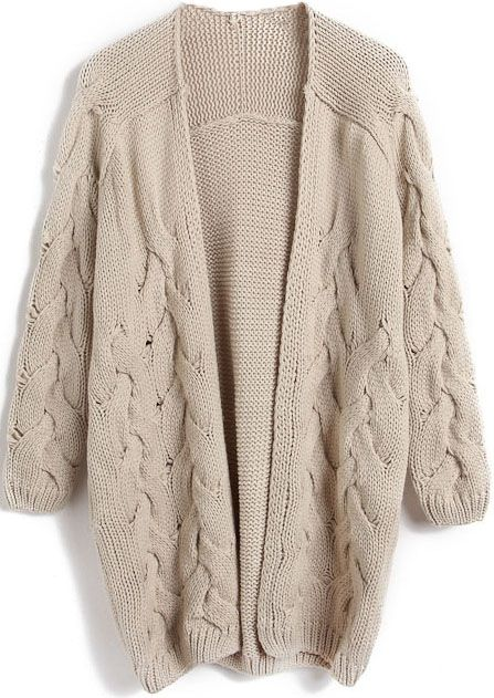 Apricot Long Sleeve Cable Knit Cardigan Sweater - Sheinside.com