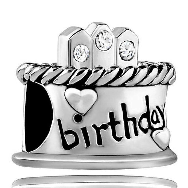Happy Birthday Cake Clear White April Birthstone Swarovski Crystal Candles Gift Bead Pandora Chamilia Compatible | Charmsstory.com #birthday #charms #pandora #beads #cake #birthstone #crystal #april #candle