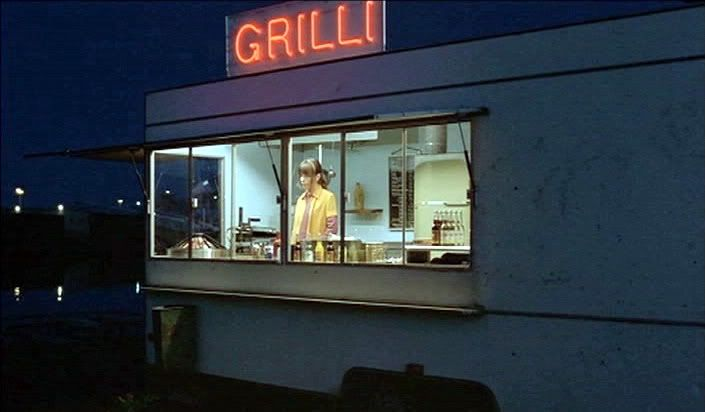 Still from Lights in the Dusk (2006), directed by Aki Kaurismäki, Cinematography by Timo Salminen