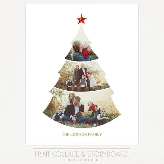 Christmas Tree Collage Template 16x20 Print Template Blog Etsy Tree Collage Christmas Scrapbook Holiday Photo Cards Template