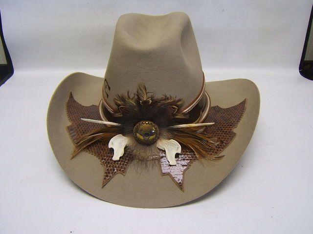 232fd27946471 Charlie 1 Horse Men s 10x Quality Fur Felt Cowboy Hat Snakeskin Band 7 3 8  EXC