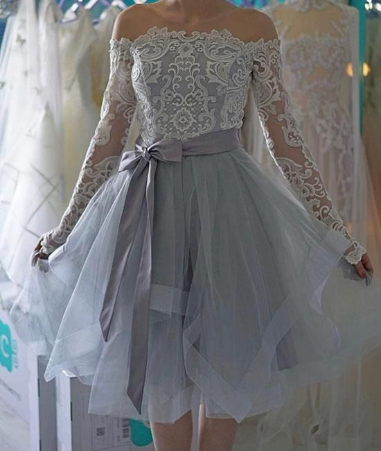 Cute gray lace short prom dress. cute gray homecoming dress – shdress