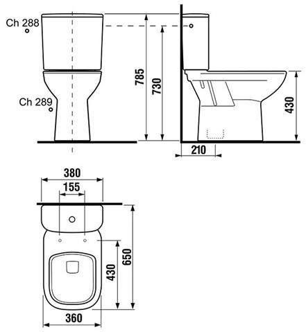 Stojaci WC kombi Jika Deep, spodný odpad, 65cm