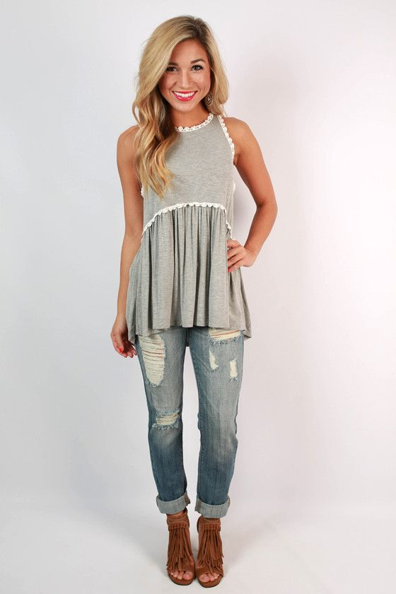 Fashion Queen Tank Top in Grey