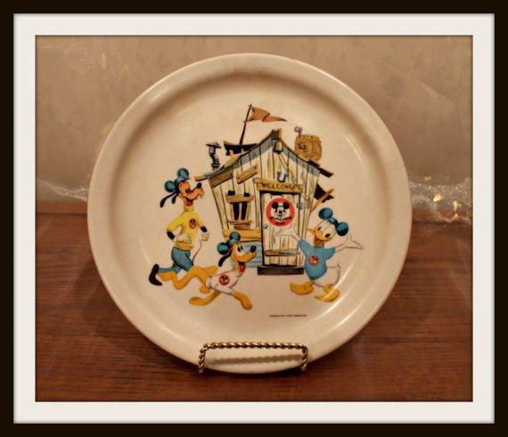Placa de Melmac Vintage Club de Mickey Mouse Goofy Pluto y