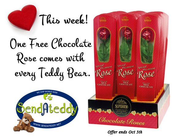 Send her something sweet today! This week we add a free Chocolate Rose with your Teddy Bear gift!  goo.gl/APhbya (offer ends Oct 5th, 2014) #sendateddy   #teddybears