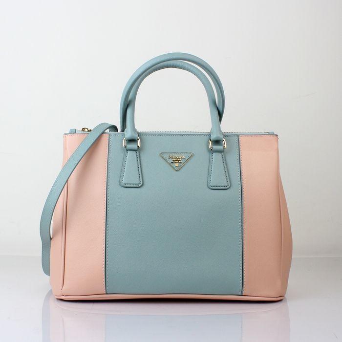 Prada Saffiano Lux Bicolor EW Tote Blue/Pink - $360.00 : prada.lllbag.