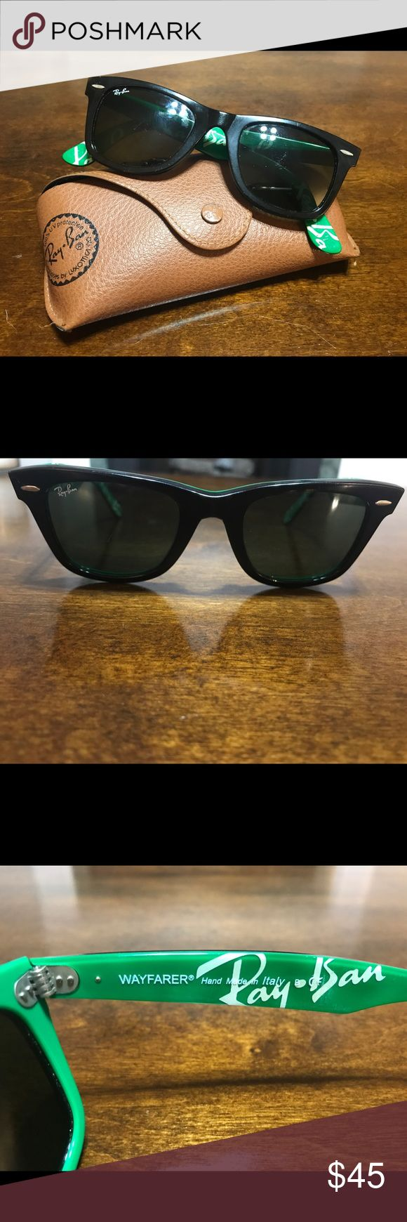 Authentic Ray-Ban wayfarers Authentic Ray-Ban wayfarers- black & green- some minor wear on the frames & scratches on lenses but doesn't interfere with vision- style # is pictured Ray-Ban Accessories Sunglasses