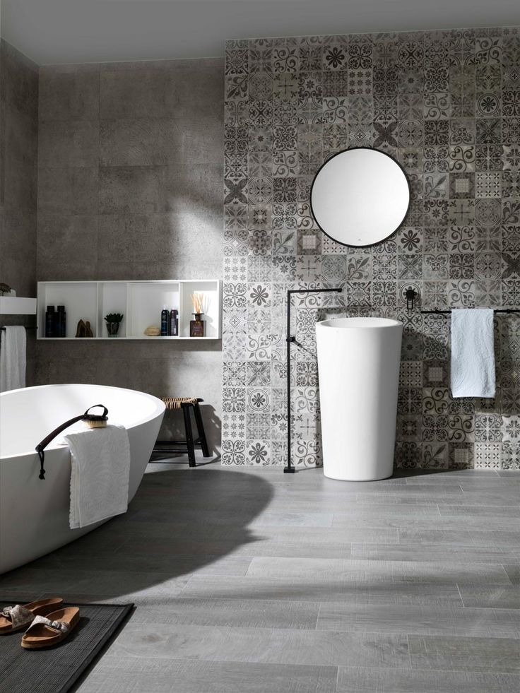 83 best grey bathrooms images on pinterest modern for Feature wall tile ideas