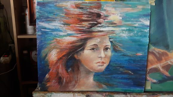 Girl underwater-from naiada series .Modern underwater painting.