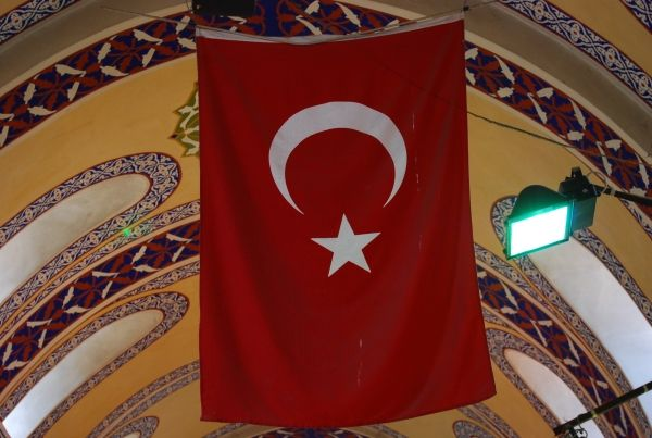 Turkish flag hanging from the ceiling in the grand bazaar of Istanbul