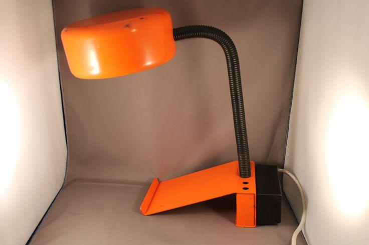 70er Jahre Tischlampe Lampe ORANGE  Arbeitsleuchte 70s desk table lamp Space Age