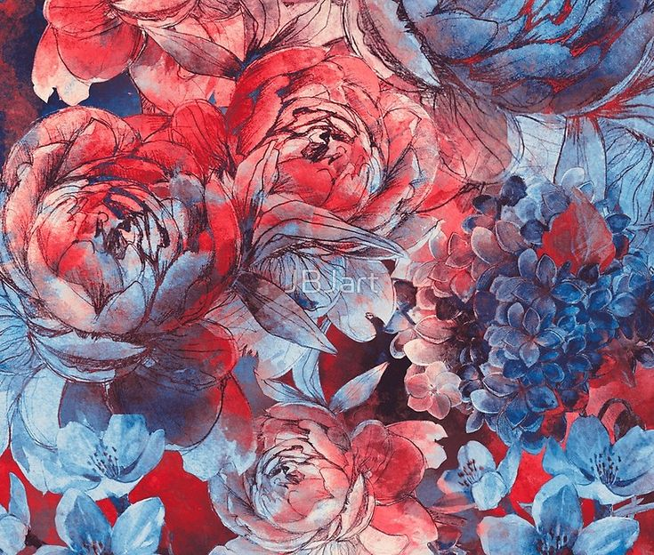 flowers red and blue pattern #flowers #pattern