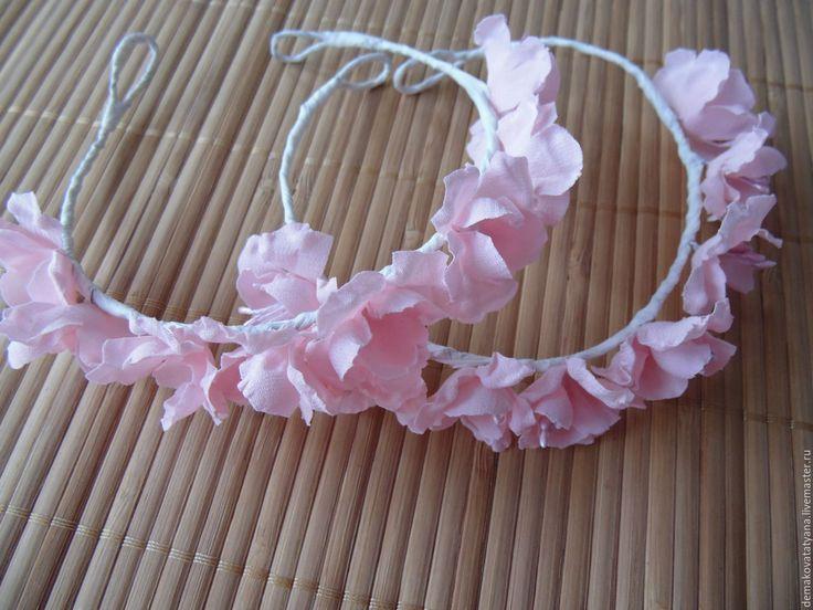 Купить Веночки для куклы - розовый, шелк, тычинки для цветов, жемчуг искусственный, проволока для цветов