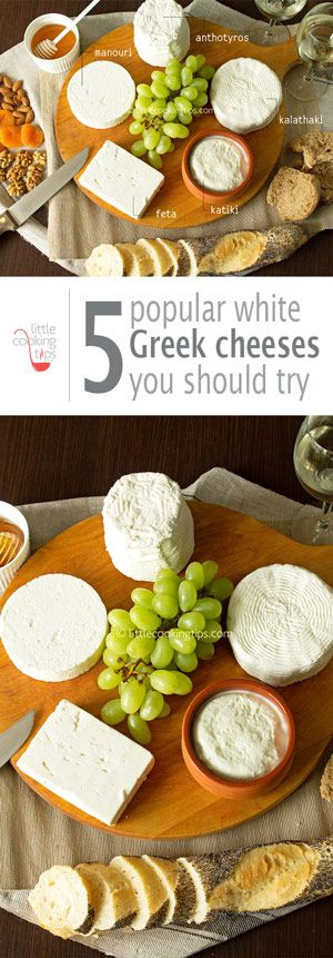 Introduction to five of the most popular Greek white cheeses. Expand your knowledge of Greek cuisine beyond feta and create a delicious cheese plate to impress your guests.   #Greek #cheese #plate #feta #manouri #anthotyros #kalathaki #katiki