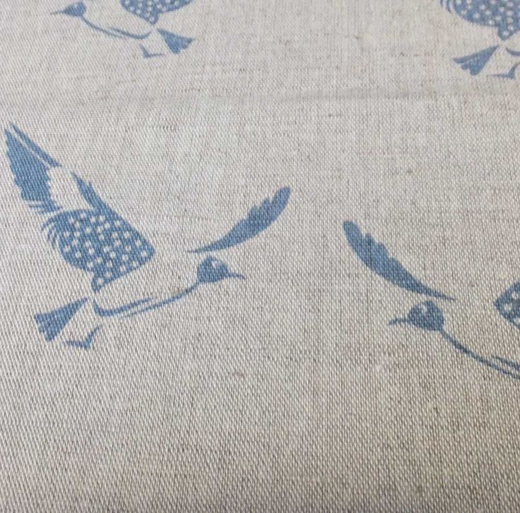 Printed Linen Fabric with Blue Bird Pattern by Ada & Ina